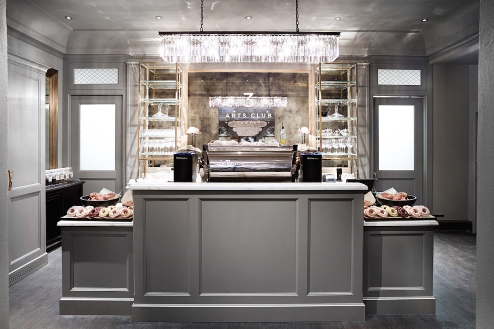 "The ""3 Arts Club Pantry & Barista Bar"" inside Restoration Hardware in Chicago, USA."