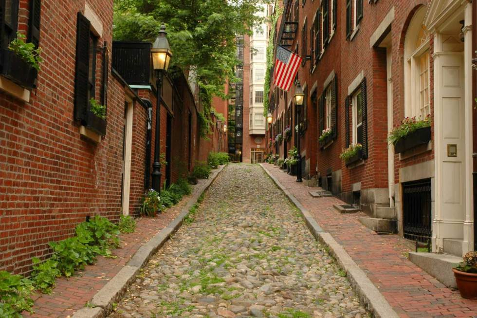 Acorn Street, Boston, Massachusetts.