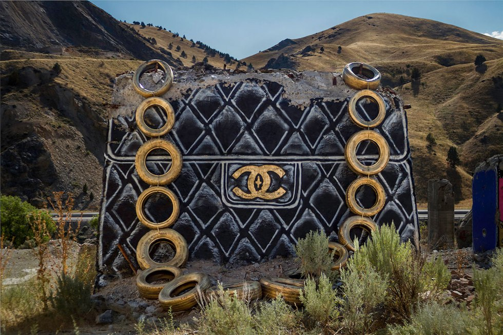 Giant designer handbag created by Thrashbird in Oregon.