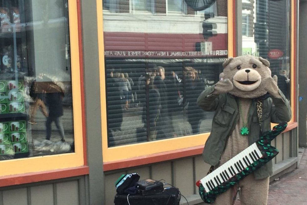 Local street performer Keytar Bear at Harvard Square in Cambridge, Massachusetts.