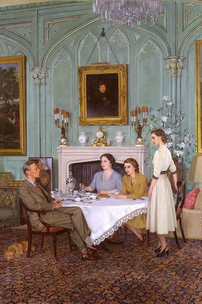 Sir James Gunn, Conversation Piece at the Royal Lodge, Windsor, 1950, oil on canvas, National Portrait Gallery, London. © National Portrait Gallery, London
