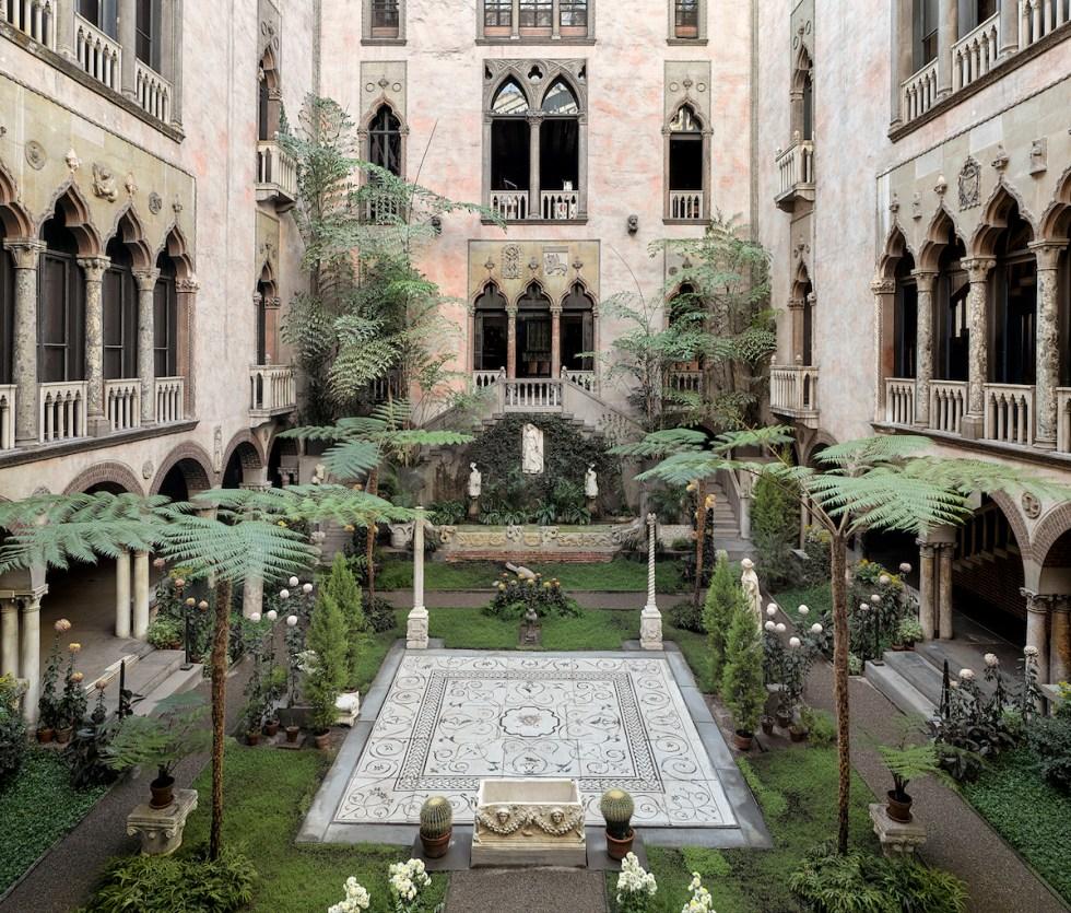 The Courtyard inside the Isabella Stewart Gardner Museum in Boston, Massachusetts.