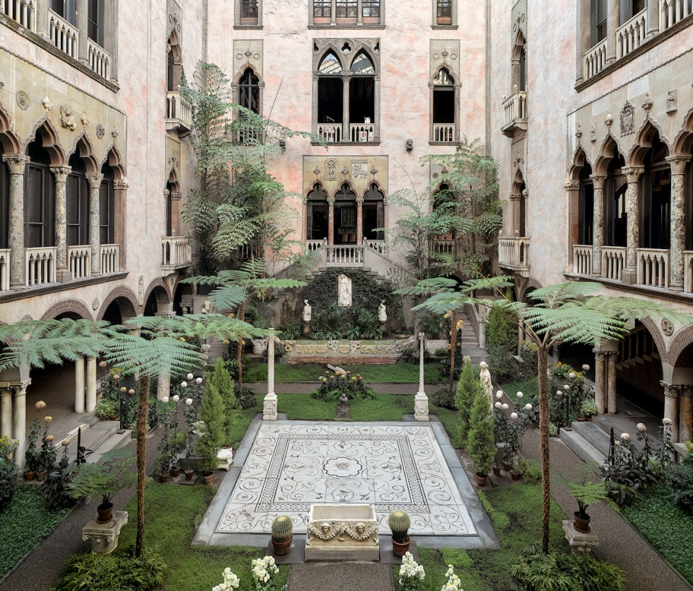 The Courtyard inside the Isabella Stewart Gardner Museum in Boston, Massachusetts.
