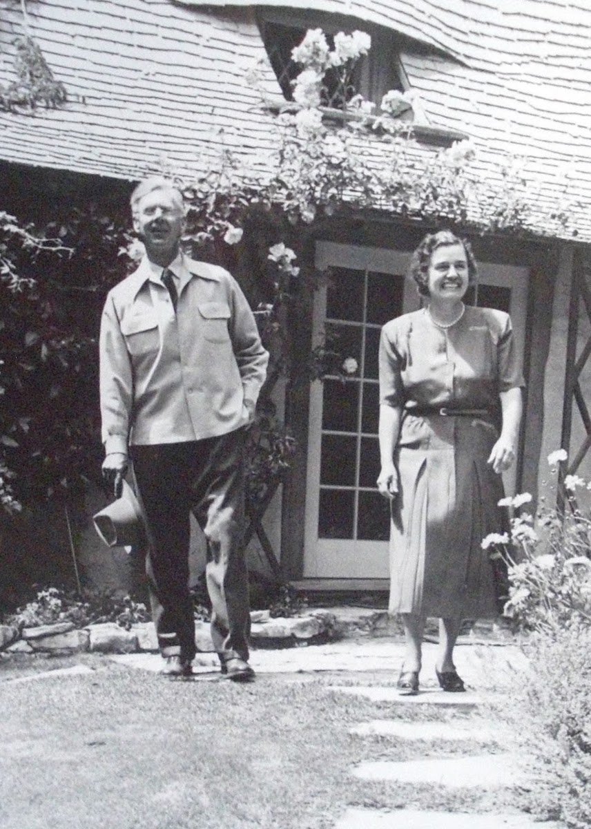 Hugh Comstock and his wife Mayotta Browne outside their residence in Carmel-by-the-Sea, California.
