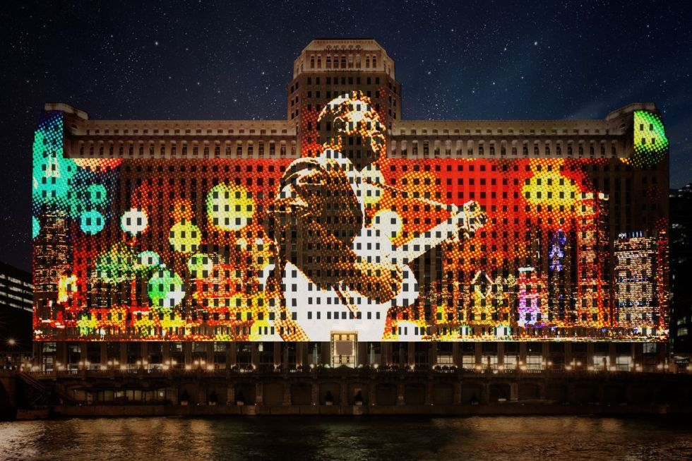 """The world's largest and longest-running digital projection system, titled """"Art on theMART"""" in Chicago."""