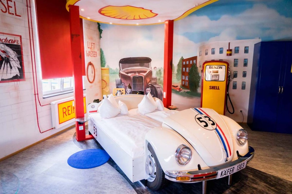 "The ""Gas Station"" room inside V8 Hotel in Böblingen, Germany."