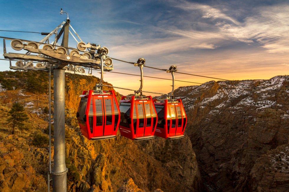 Aerial gondolas at the Royal Gorge Bridge & Park in Cañon City, Colorado.