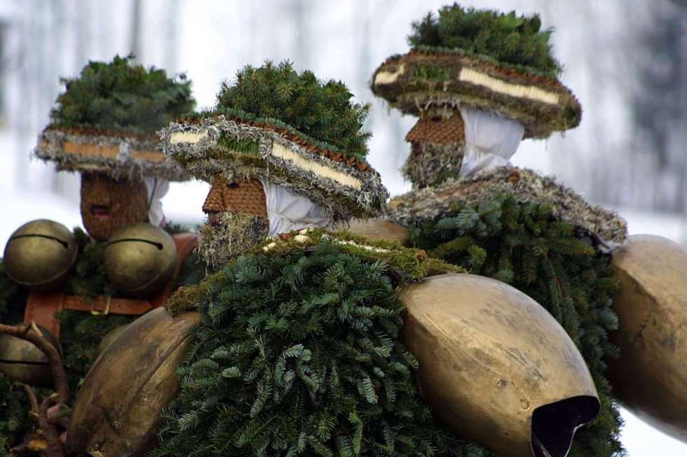 """During the Swiss winter """"Silvesterchläusen"""" festival the creatures carry large bells on their bodies, making the outfits weigh up to 66 lb (30kg) each."""