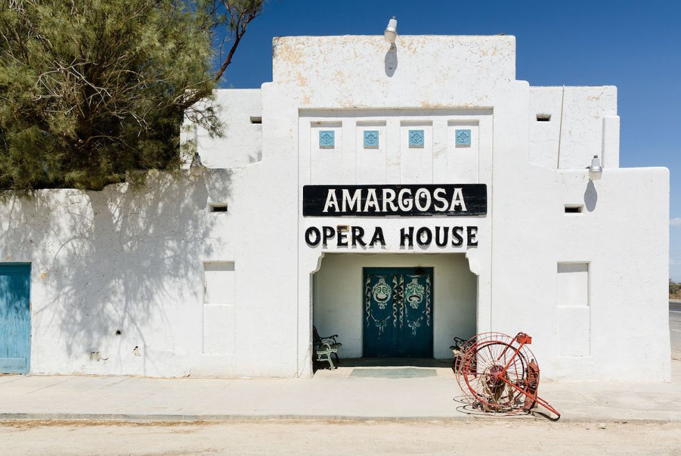 """The """"Amargosa Opera House"""" exterior in Death Valley Junction, California."""