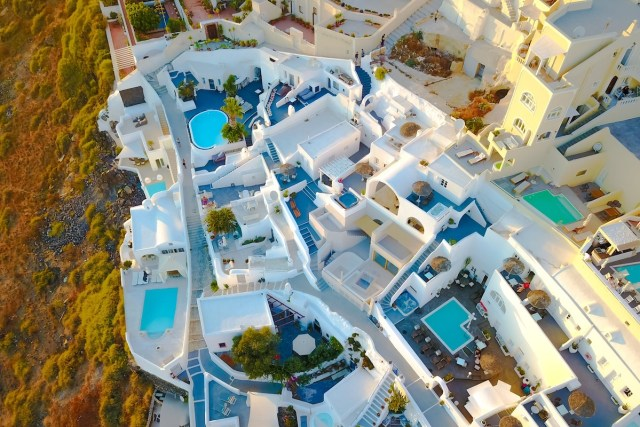 White houses in Santorini, Greece.