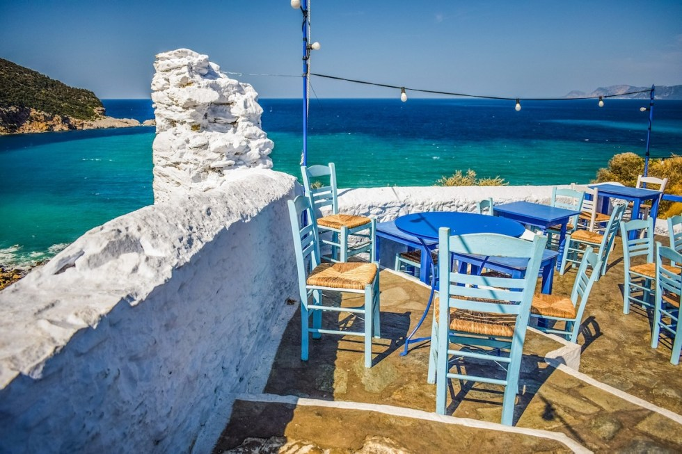 A small restaurant (taverna) by the sea in Greece.