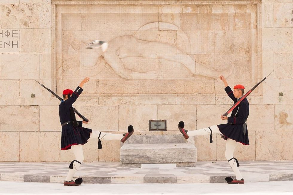 "Two ""Evzones"" guarding ""The Tomb of the Unknown Soldier"" in downtown Athens, Greece."