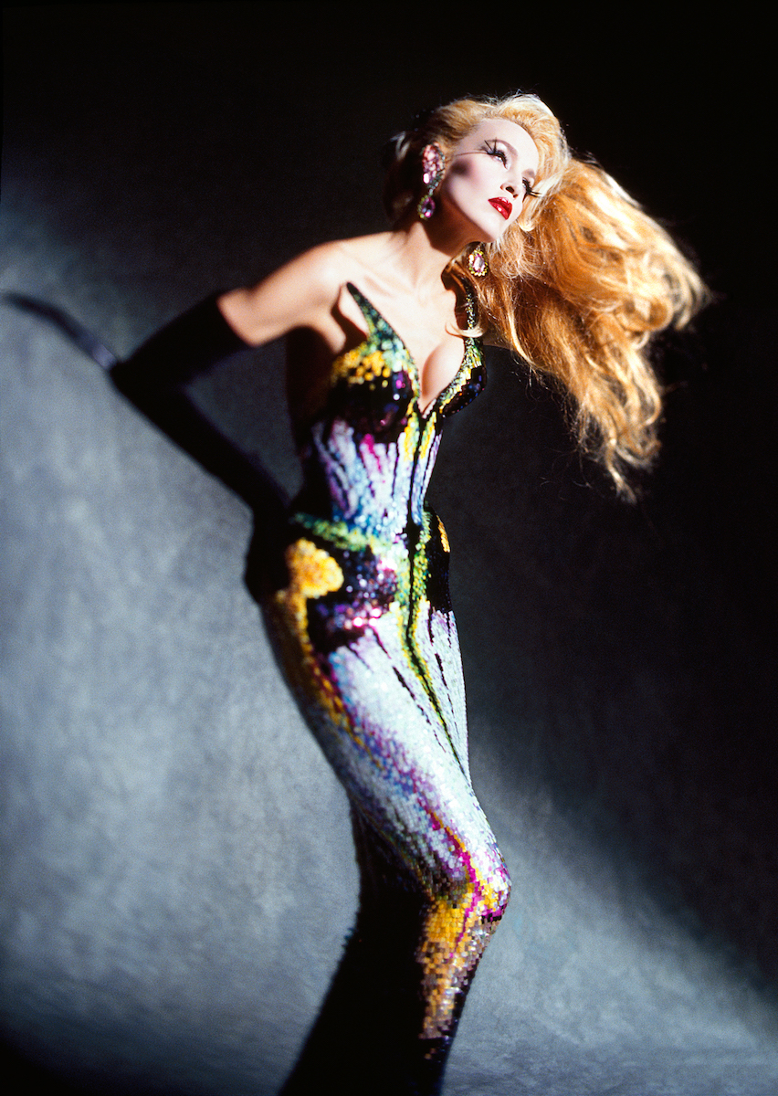 Model photographed wearing a Thierry Mugler haute couture creation.