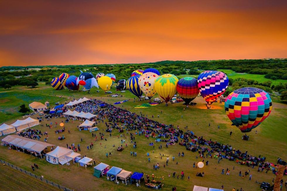 One of the most popular events in the Texas Hill Country is Balloons over Horseshoe Bay Resort festival, taking place just 54 miles (87 km) from Austin each spring.