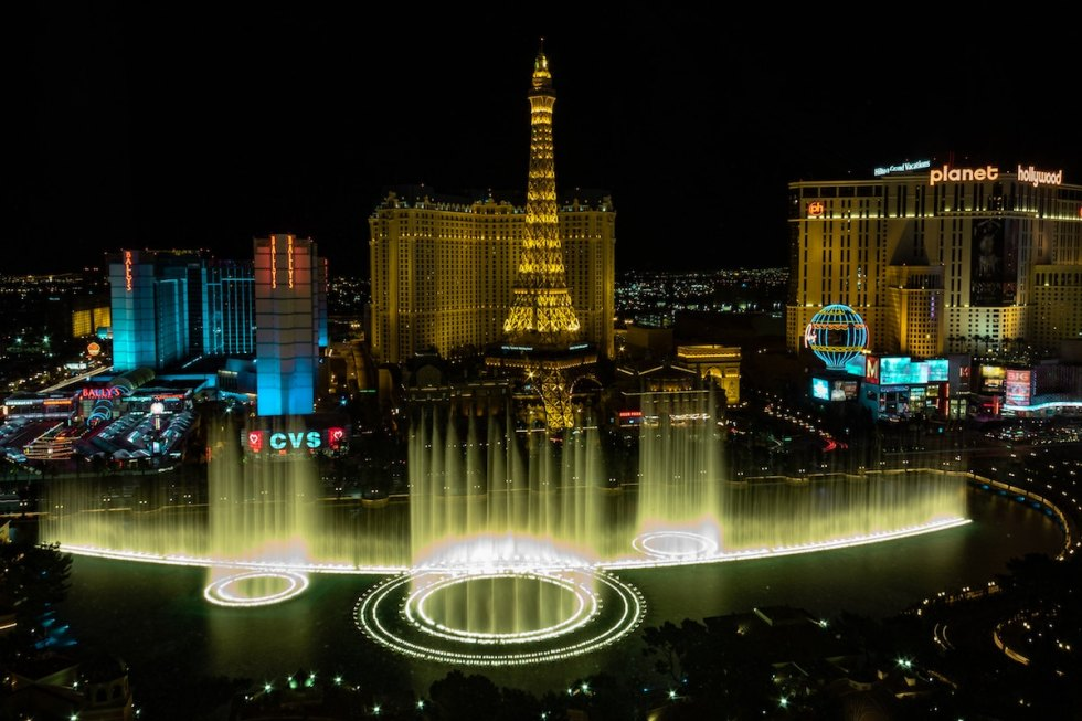 The dancing fountains outside the Bellagio Hotel and Casinoin Las Vegas, Nevada, featuring dramatic aquatic shows.