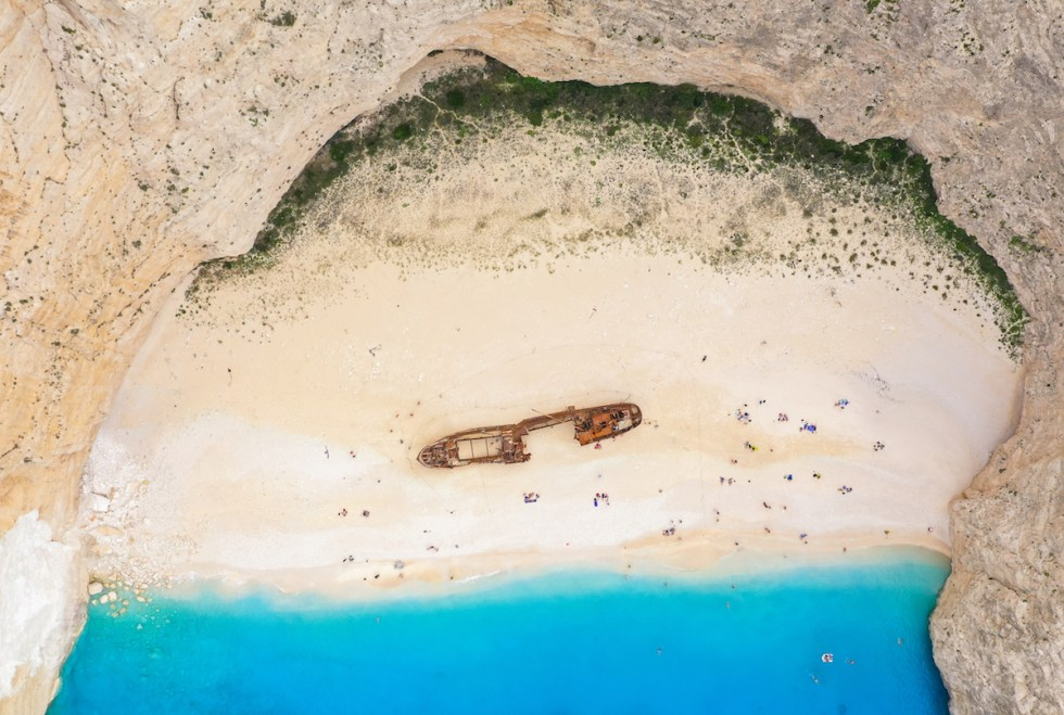 Navagio (Shipwreck Beach) in Zakynthos, Greece.