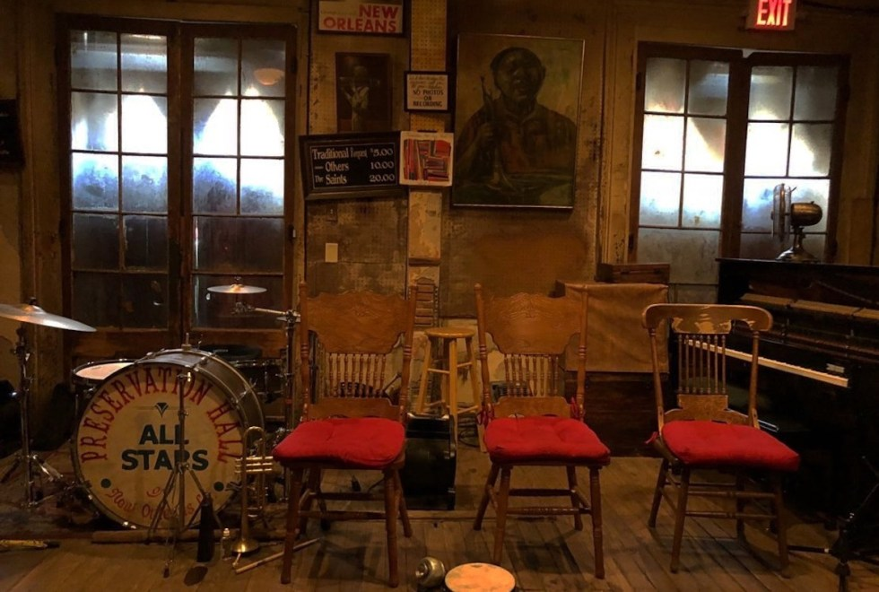 The Preservation Hall interior in New Orleans, Louisiana.