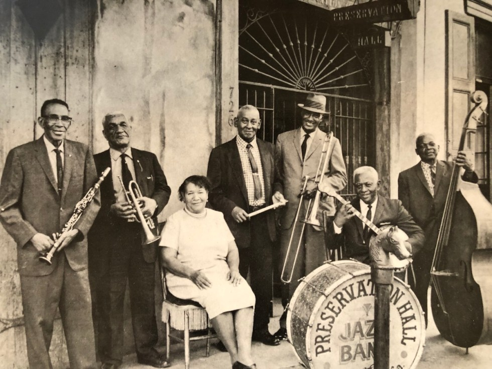 "New Orleans' Billie & De De And Their Preservation Hall Jazz Band composed of ""George Lewis (clarinet), De De Pierce (cornet), Billie Pierce (piano), Cie Frazier (drums), Louis Nelson (trombone), Narvin Kimball (Banjo), Chester Zardis (bass)."