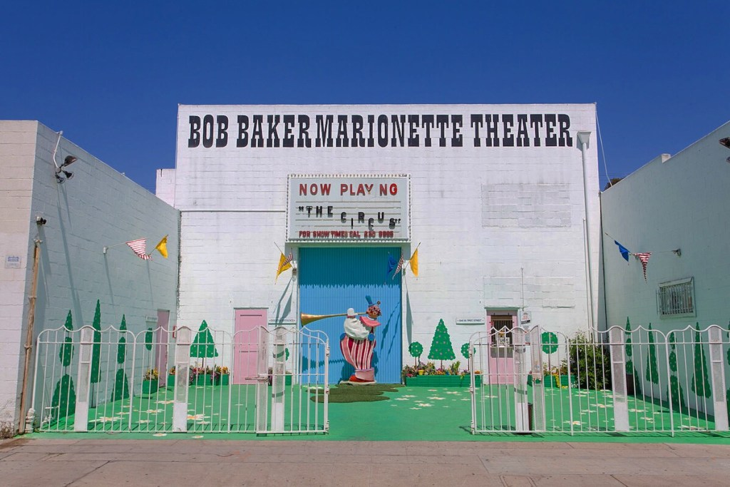 The exterior of historic old Bob Baker Marionette Theater in Los Angeles, California.