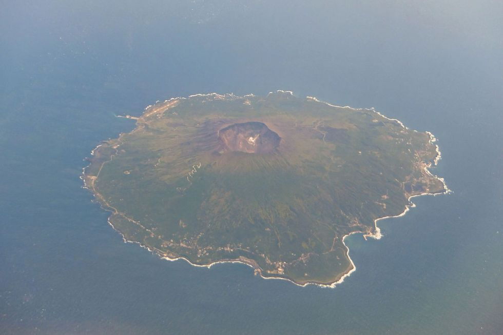 Aerial photo of Miyake-jima Island in Japan.