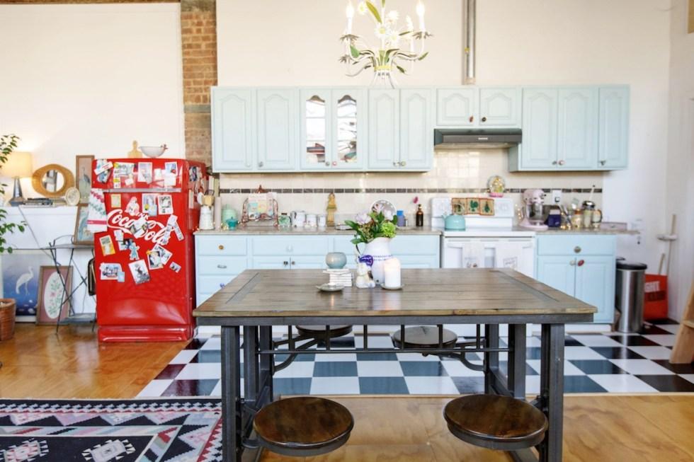 The Funky Loft kitchen in Bushwick, Brooklyn, New York.
