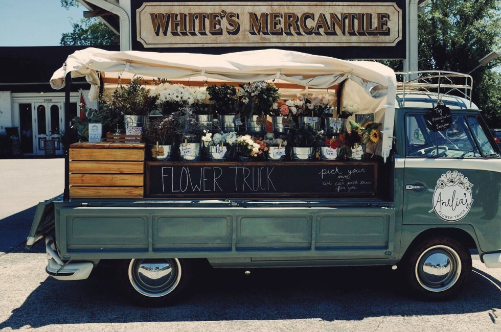 Flower truck outside White's Mercantile in Nashville, Tennessee.