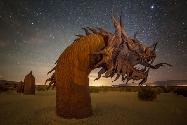 The Galleta Meadows Estate sand dragon sculpture at night. H Peter Ji: Getty Images