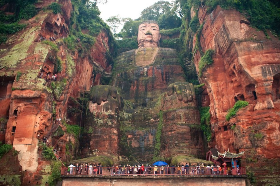 The Leshan Giant Buddha stone statue in the Sichuan Province of China.