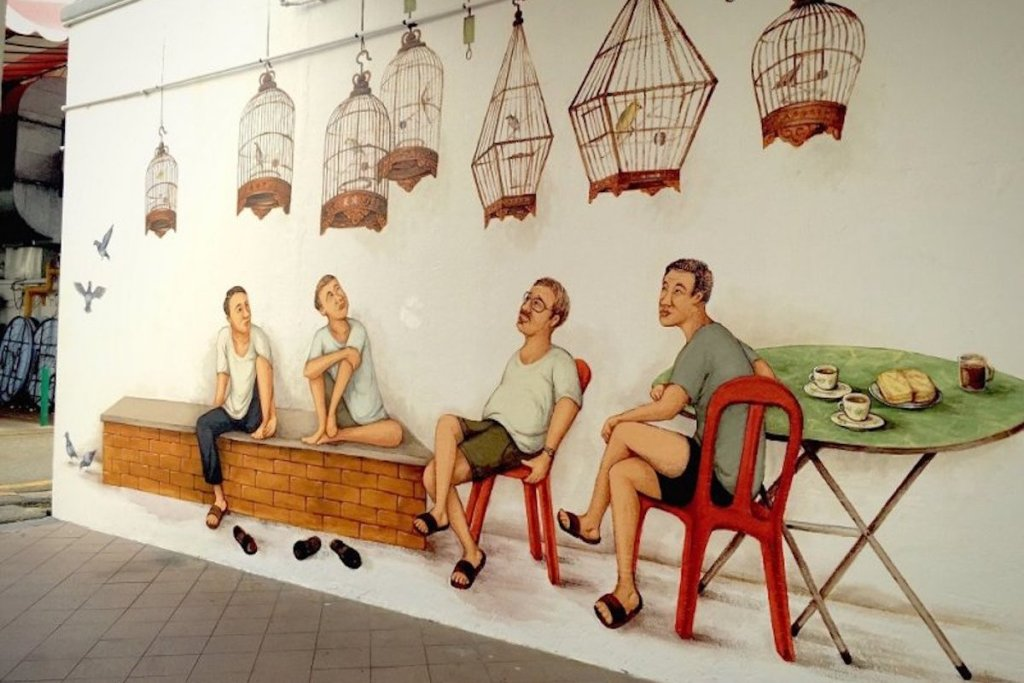 Mural depicting the local tradition of bird-singing clubs, at Block 71, Seng Poh Road, Tiong Bahru Estate in Singapore, created by Yip Yew Chong.