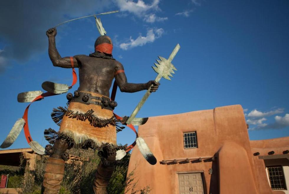 Apache Mountain Spirit Dancer bronze sculpture at Museum of Indian Arts & Culture in Santa Fe, New Mexico.