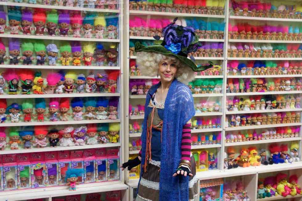 Sherry Groom leading tours dressed as