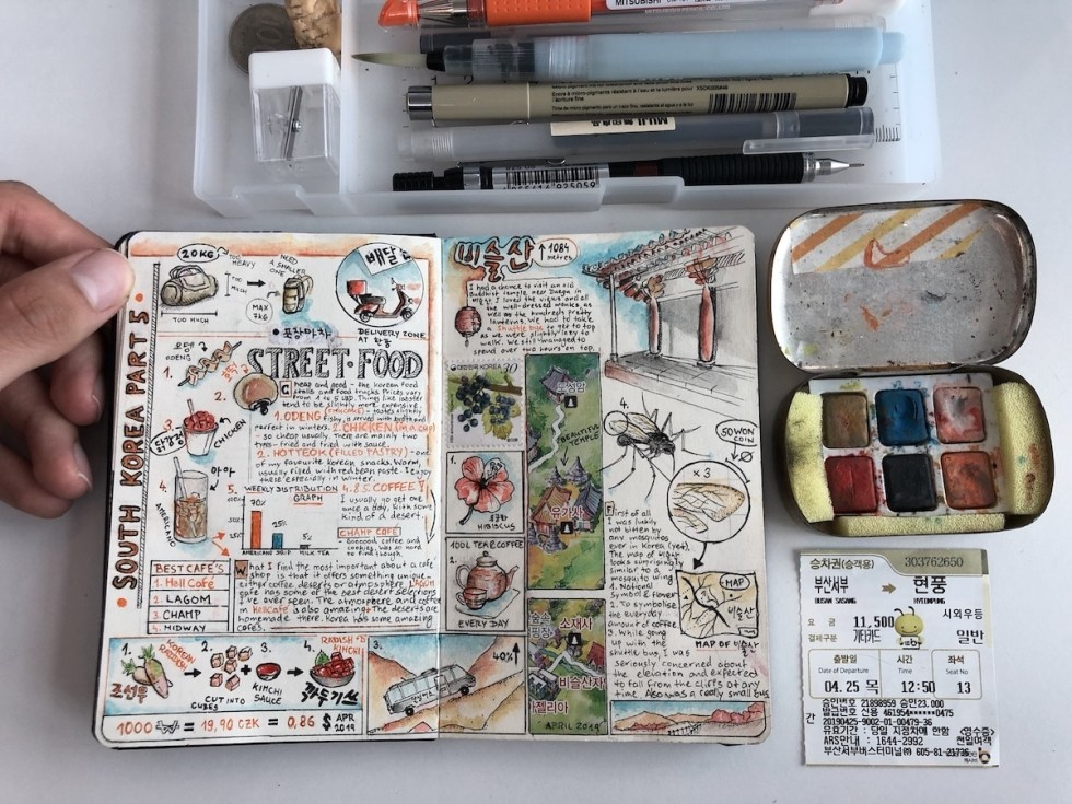Adam Hackländer's travel journal pages about South Korea