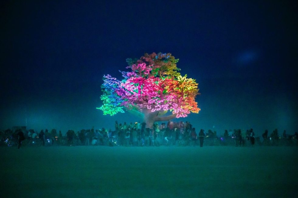 """Tree of Ténéré"" art installation by Symmetry Labs, Burning Man 2017. Photo by Mel Macpherson - Random Acts of Travel"