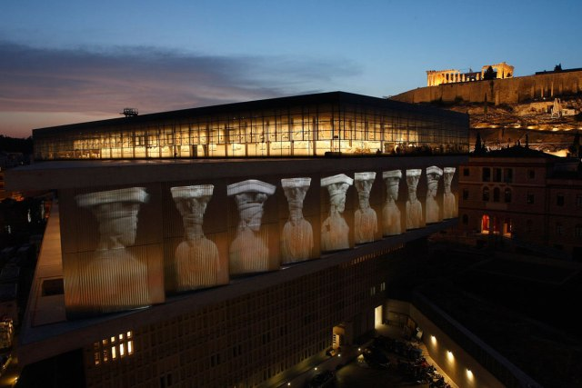 Sunset at the Acropolis Museum in Athens, Greece.