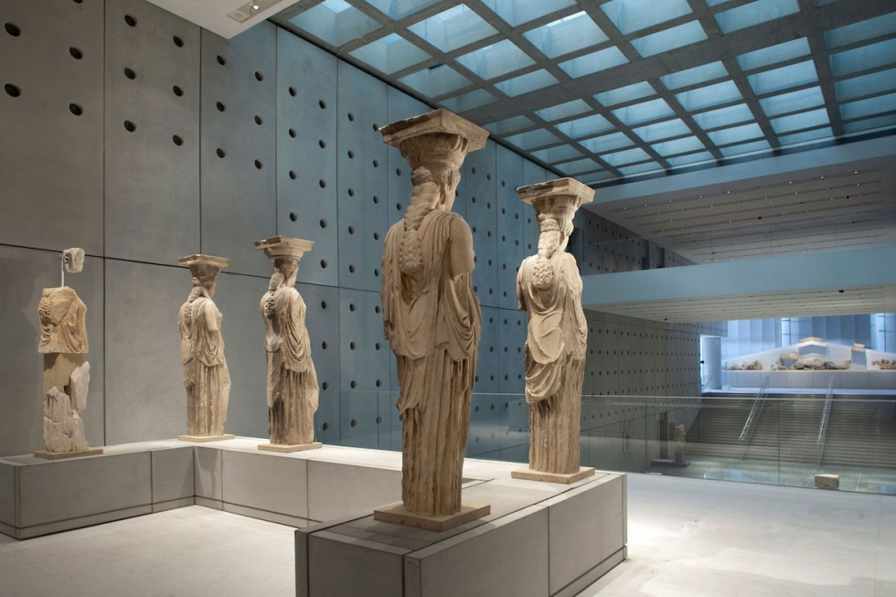 The Caryatids from the Erechtheion on display at the Acropolis Museum in Athens, Greece.
