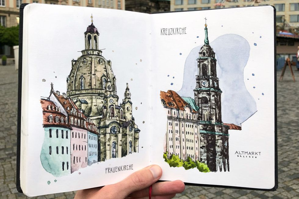 Watercolor sketch of the Frauenkirche in Dresden, Germany created by Danny Hawk.