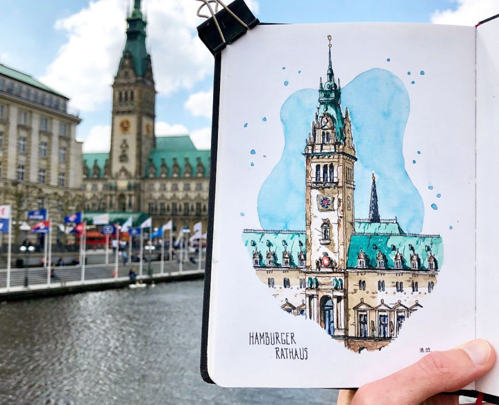 Watercolor sketch of Hamburger Rathaus in Germany created by Danny Hawk.