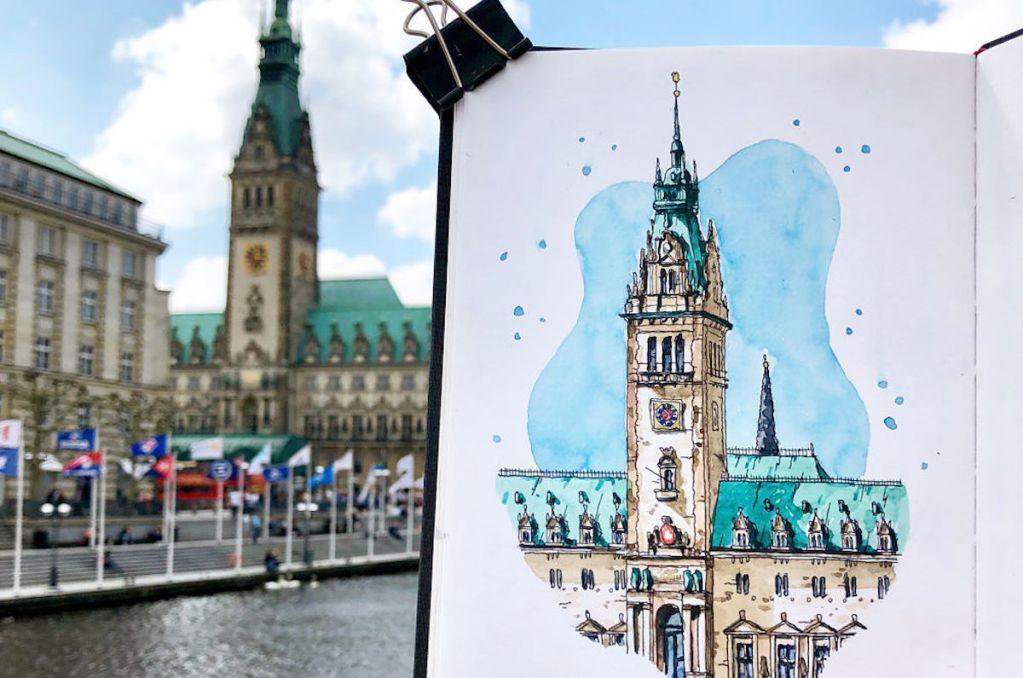 Watercolor sketch of Hamburger Rathaus created by Danny Hawk.