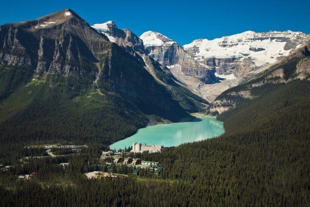 Aerial photo of Lake Louise in Alberta, Canada.