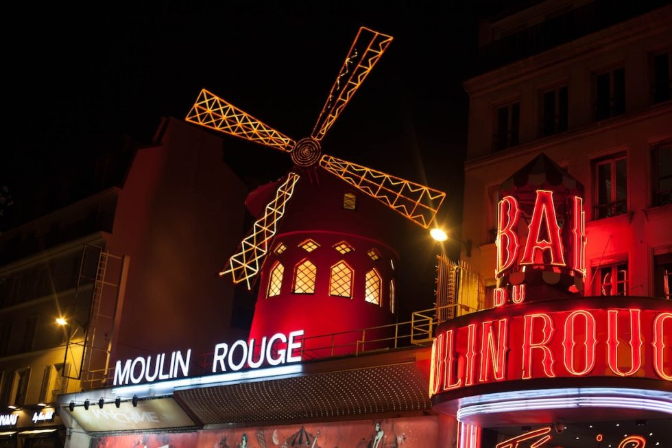 The 19th-century windmill of Moulin Rouge in Paris, France.