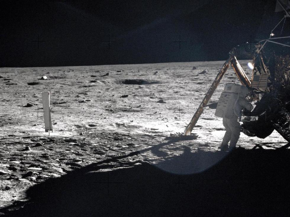 American astronaut Neil Armstrong on the Moon.