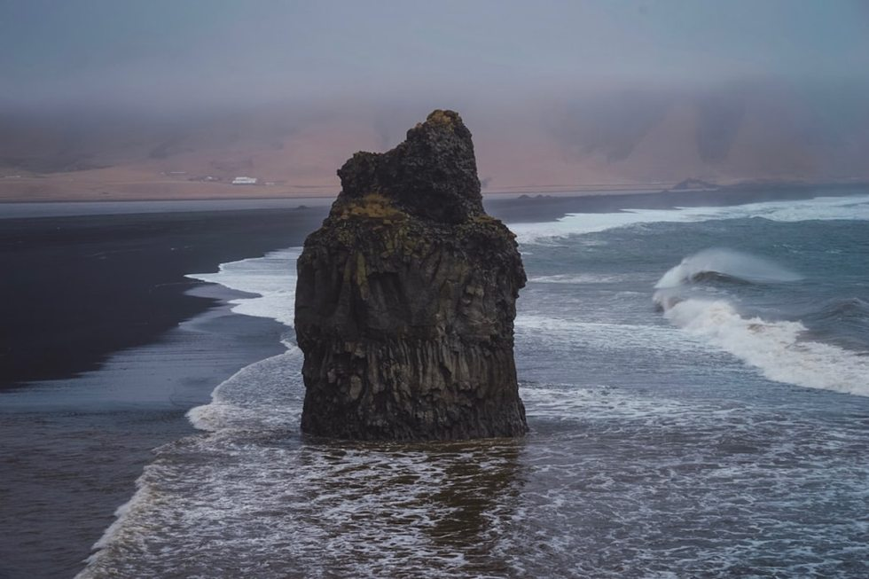 Rock at Reynisfjara beach in Iceland.