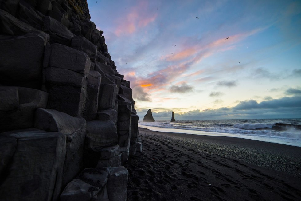 Reynisfjara Black Sand Beach in Iceland.