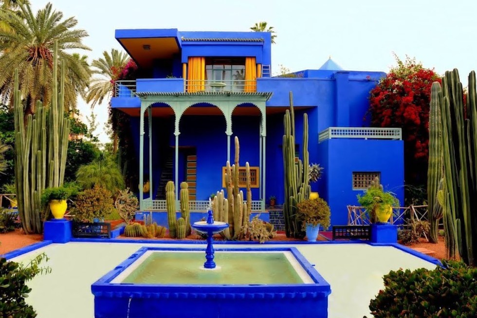 Yves Saint Laurent's blue private villa in Marrakech, Morocco.