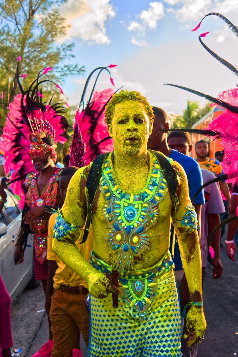 People dressed up for Junkanoo Carnival Road Parade 2019.