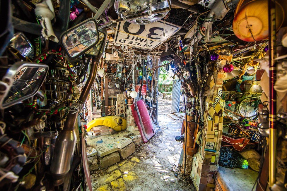 The interior of Cathedral of Junk installation in Austin, Texas.