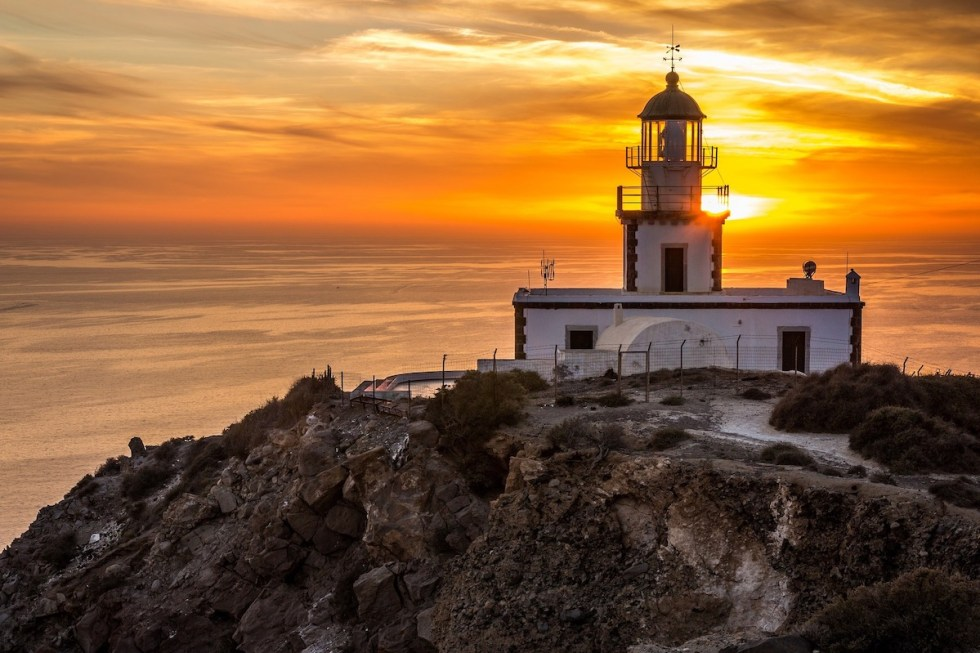 Sunset view from Akrotiri Lighthouse in Santorini