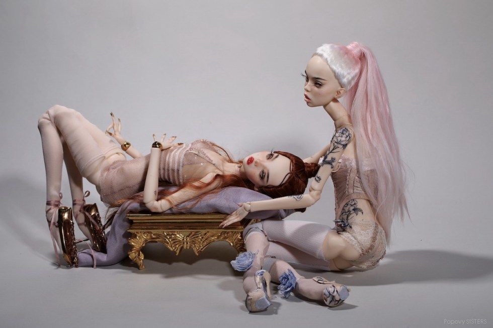 Popovy Sisters fine art dolls created for Jean Paul Gaultier