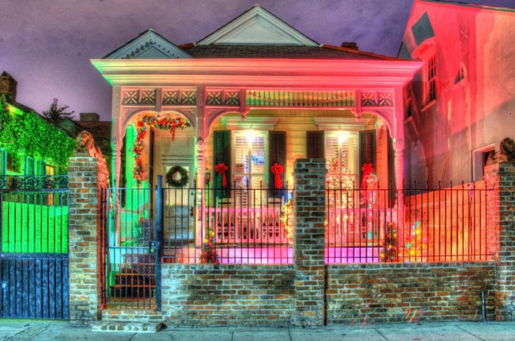 French Quarter house in New Orleans, Louisiana, covered in Christmas holiday decorations