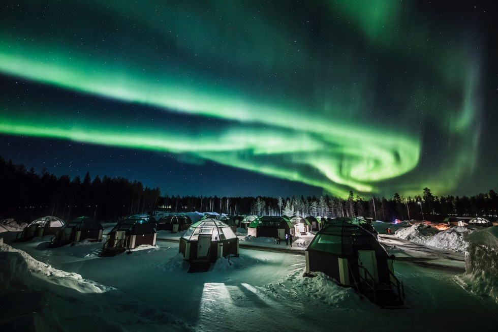 Aurora Borealis at Arctic SnowHotel & Glass Igloos in Rovaniemi, Finland